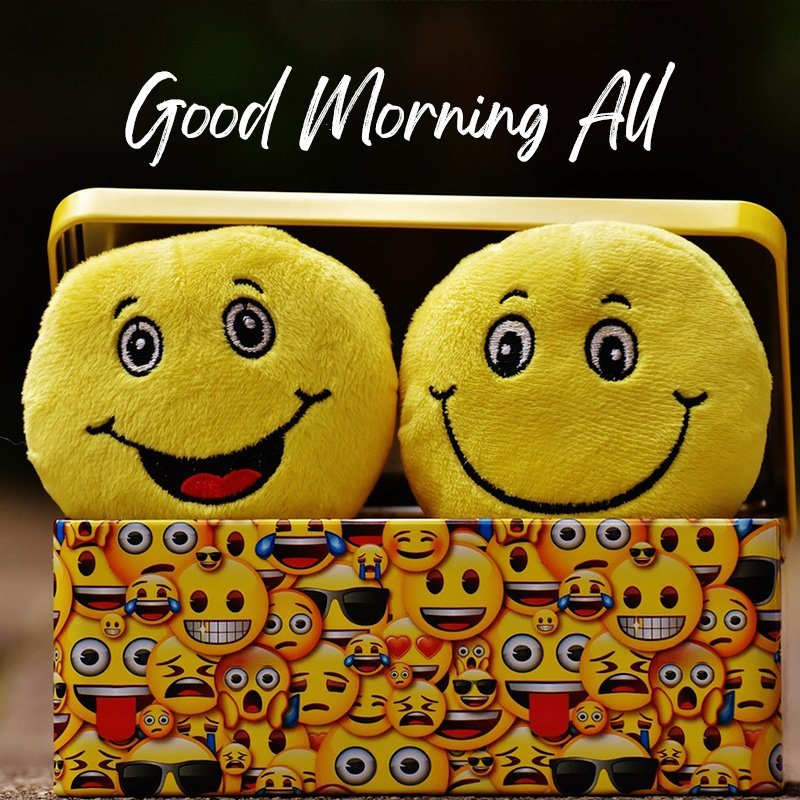 Good Morning all message with smiley emoticons